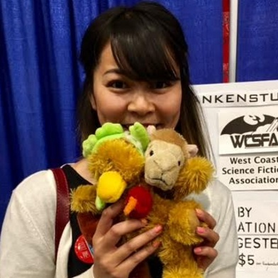 Erica shows off her Franken Stuffie.